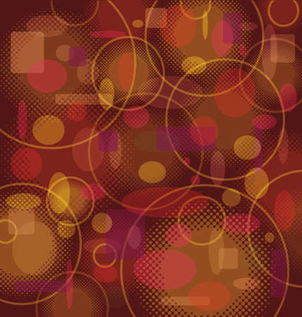 Retro Background Pattern with Circles in Brown / Orange Colors - Vector