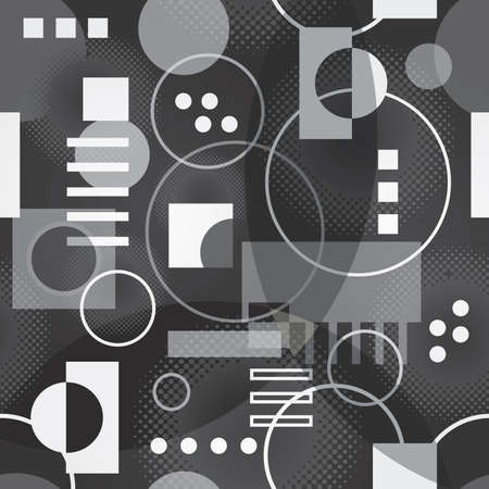 Retro Background Pattern with Circles and Squares in Black and White - Vector