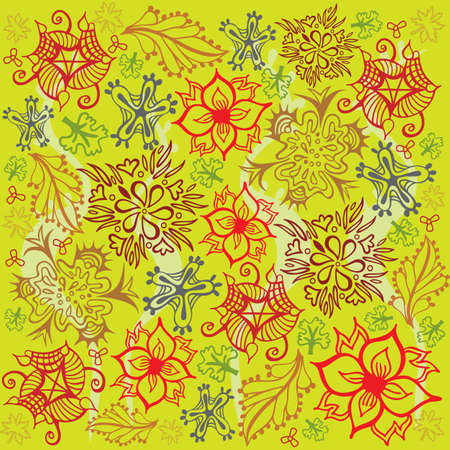Flower and Foliage Pattern - Red and Green Colors - Vector Illustration