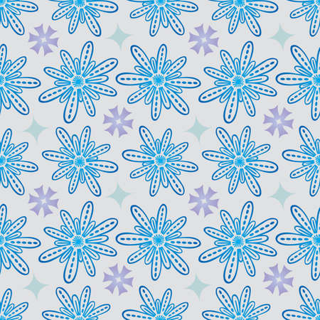 Flower Seamless Pattern in Blue and Purple - Pastel Colors on Gray Background - Vector Illustration
