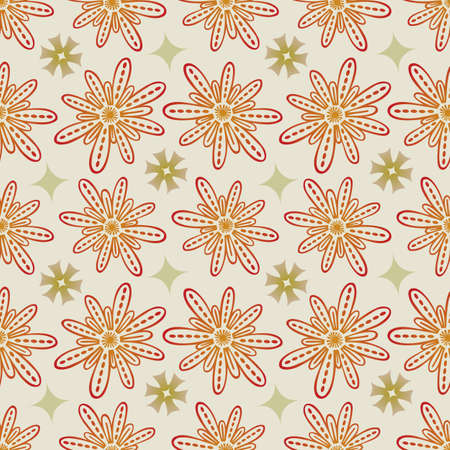 Flower Seamless Pattern in Beige and Khaki - Pastel Colors on Gray Background - Vector Illustration