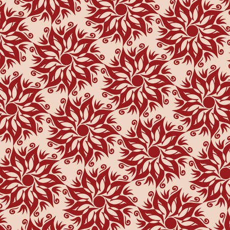 Flower Mandala Seamless Pattern - Beige and Red Colors - Vector