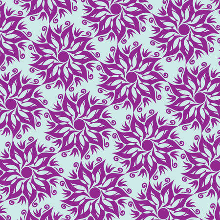 Flower Mandala Seamless Pattern - Blue and Purple Colors - Vector