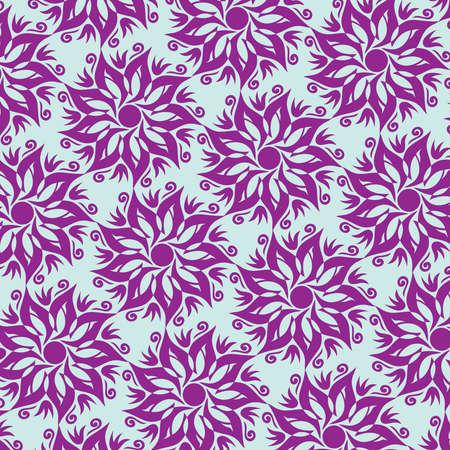 Flower Mandala Seamless Pattern - Blue and Purple Colors - Vector