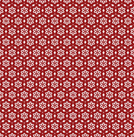 Flower Line Seamless Pattern - Red and White Colors - Vector