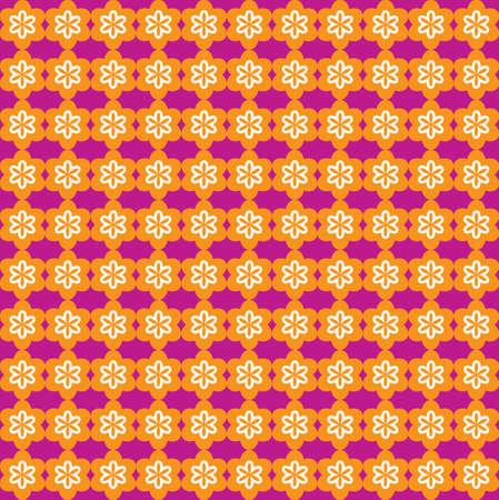 Flower Line Seamless Pattern - Orange and Purple - Vector Illustration