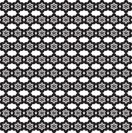 Flower Line Seamless Pattern - Black and White Colors - Vector