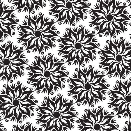 Flower Mandala Seamless Pattern - Black and White Colors - Vector