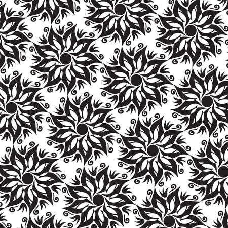 Flower Mandala Seamless Pattern - Black and White Colors - Vector