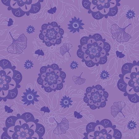 Mandala Seamless Pattern in Violet - Vector Format Illustration