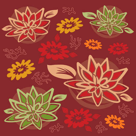Flowers and Foliage Pattern - Lotus Flowers and Coral - Vector