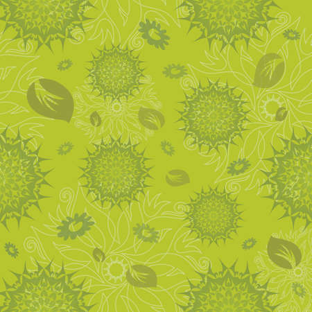 Mandala Flower Seamless Pattern in Green - Vector Format