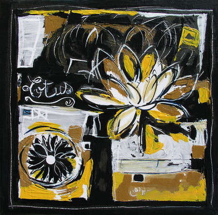 Lotus Flower Painting, Modern Illustration - Mixed Media Collage - Yellow and Black Colors