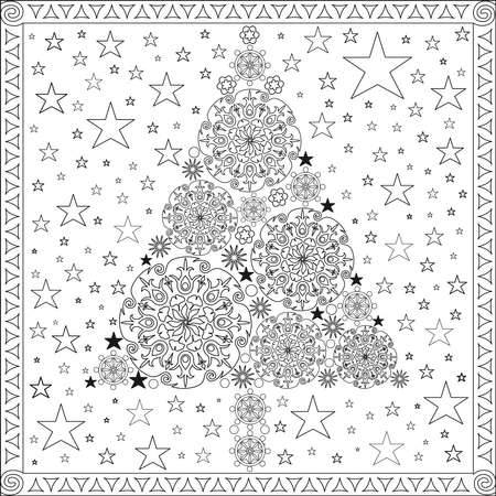 Coloring Page - Christmas Tree with Mandalas and Stars in Black and White Colors