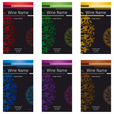 Wine Label Set of 6 - Assorted Colors - Modern Design