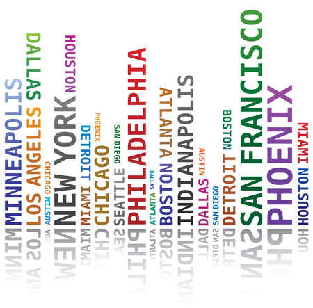 Word Cloud - Skyline Shape with USA Towns - Cities Names Illustration