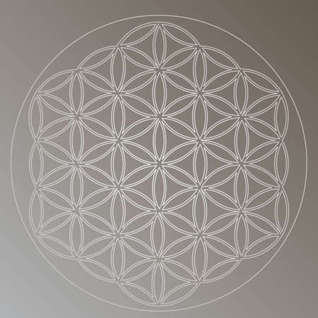 Flower of Life Symbol in Gray Silver Colors, Cosmic Universe Energy Wheel Illustration