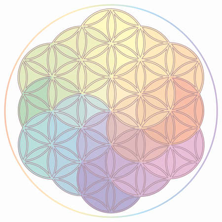 Flower of Life Symbol in Rainbow Colors, Cosmic Universe Energy Wheel