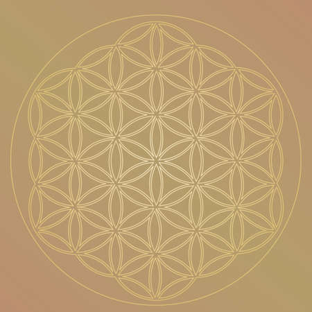 Flower of Life Symbol in Gold Colors, Cosmic Universe Energy Wheel Illustration