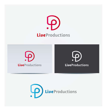 Letter LP Icon for Business Card Logo, Mock up in Several Colors
