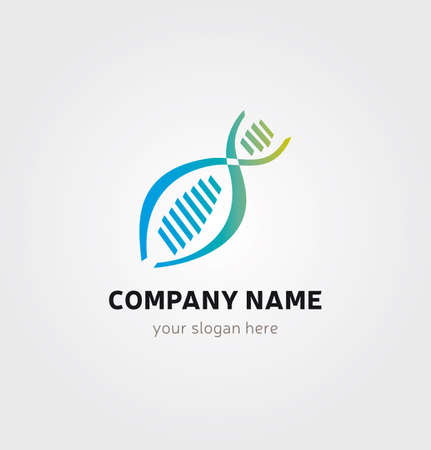 DNA Icon, Genetics Logo for Medical Healthcare Business, Blue and Green Colors