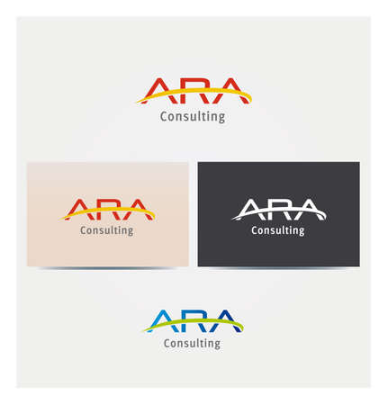 Letter A - ARA Icon for Business Card Logo, Mock up in Several Colors