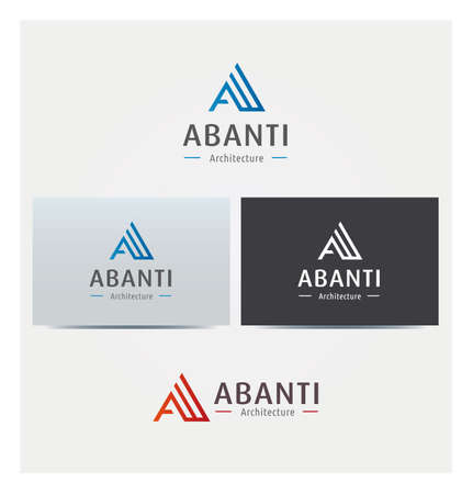 Letter A Icon for Business Card Logo, Mock up in Several Colors  イラスト・ベクター素材