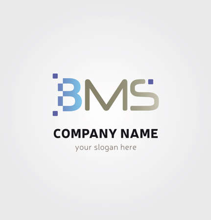Letter BMS Icon for Business Card Logo, Mock up in Several Colors