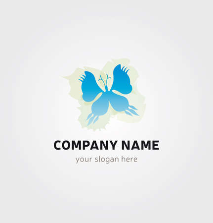 Single Butterfly Icon for Business Card Logo, Mock up in Several Colors