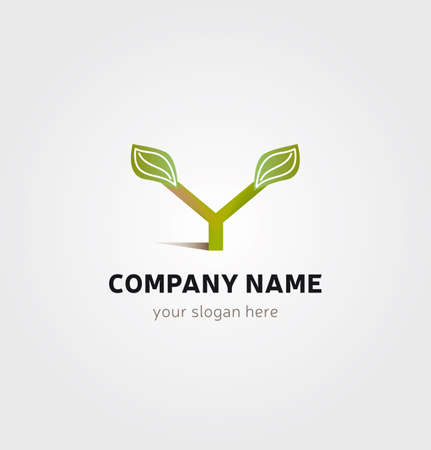 Single Logo - Tree Icon in Y Letter Shape Leaves and Foliage for Company Business  イラスト・ベクター素材
