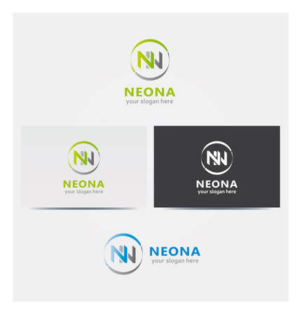 N Letter Icon, Logo for Corporate Business in Several Colors, NN Letters