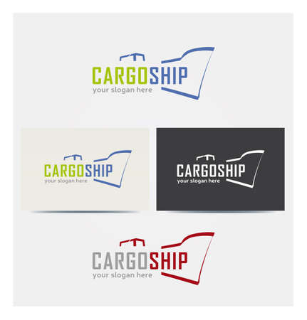 Ship Icon, Logo for Cargo Business, Card Mock up in Several Colors