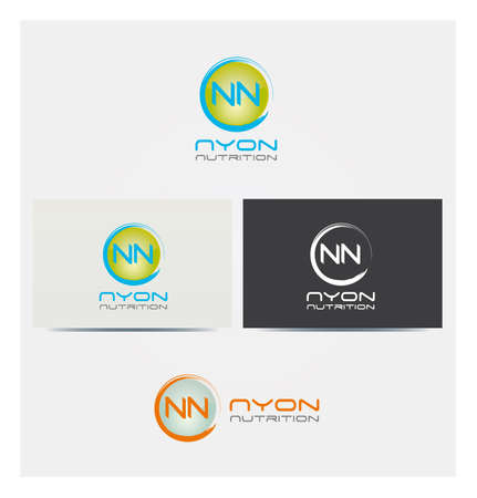 N Letter Icon, Logo for Business in several Colors, NN Letters in Circle