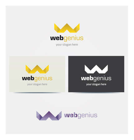 Letter W Icon, Crown Logo for Corporate Business, Card Mock up in Several Colors