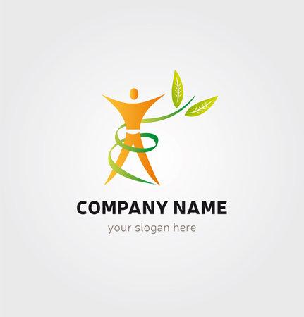 Single Logo Design - Body Silhouette and Foliage for Logo Design Illustration