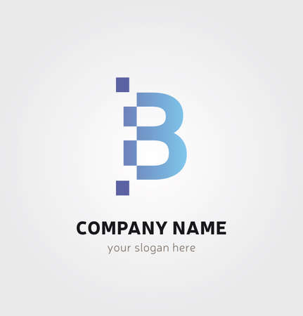 Single Logo Design - B letter with Square Dots