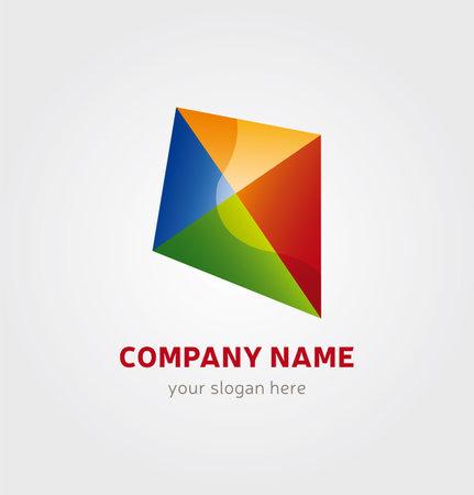 Single Logo Design - Kite multicolored for Company Branding Illustration
