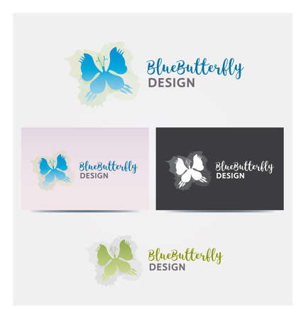 Butterfly Icon, Logo for Corporate Business, Card Mock up in Several Colors