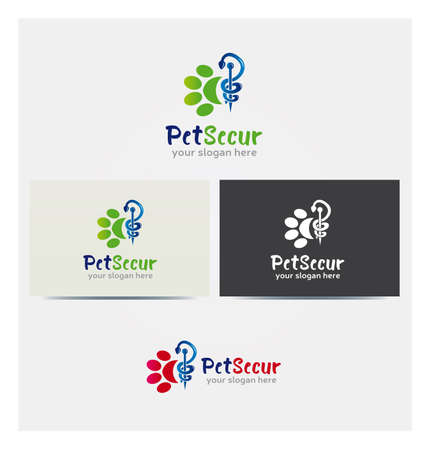 Pet Insurance Care Icon, Logo for Business in Several Colors, Animal Health, Veterinary Logo