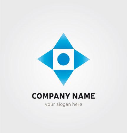 Single Logo Design - Square, Arrows and Dot Elements Illustration