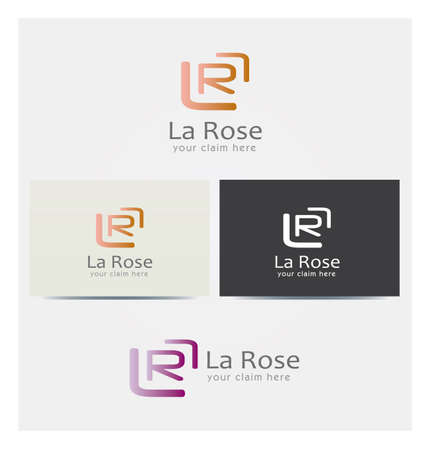 Letter L and R Icon, Logo for Corporate Business, Card Mock up in Several Colors  イラスト・ベクター素材