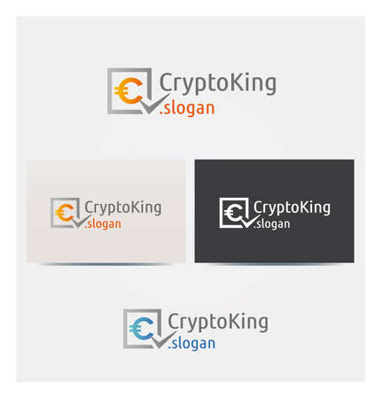 Crypto Coin Icon, Logo for Corporate Business, Card Mock up in Several Colors  イラスト・ベクター素材