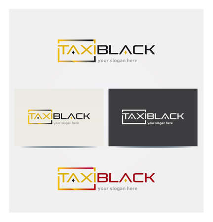 Logo for Taxi Van Business, Card Mock up in Several Colors  イラスト・ベクター素材