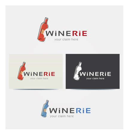 Wine Icon, Logo for Corporate Business, Card Mock up in Several Colors