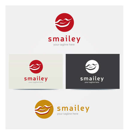 Mouth Smile Icon, Logo for Corporate Business, Card Mock up in Several Colors