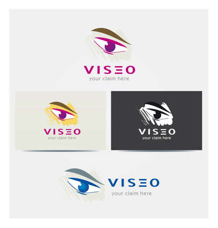 Eye Icon, Logo for Corporate Business, Card Mock up in Several Colors