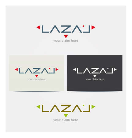Logo Letters L, A, Z for Business, Red Triangle Arrows, Card Mock up in Several Colors  イラスト・ベクター素材