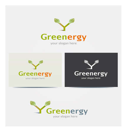 Letter Y Icon, Logo for Corporate Business, Card Mock up in Several Colors, Sustainability Concept and Energy Illustration