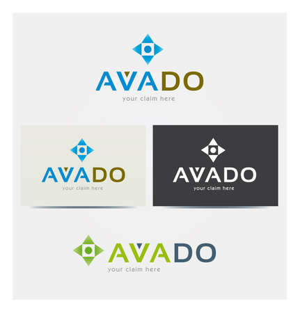 Logo Letters A, V for Business, Square Triangle and Point Icons, Card Mock up in Several Colors