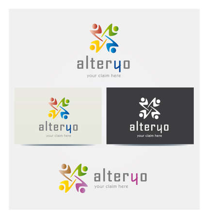 Four People Silhouette Icons, Logo for Corporate Business, Card Mock up in Several Colors